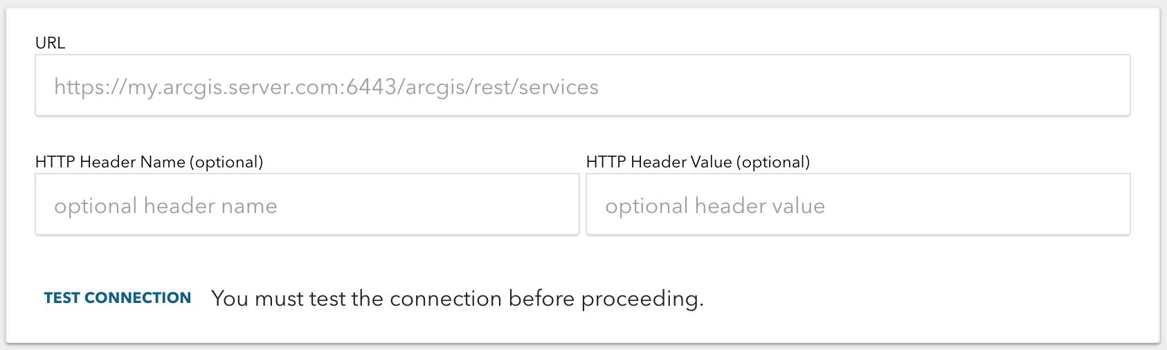 ArcGIS Server Connection Details